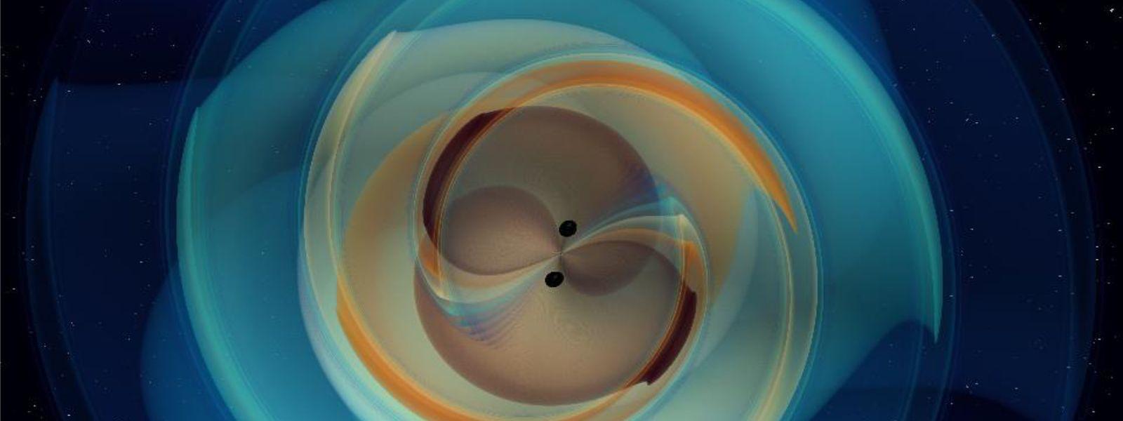 Eine Grafik des Max-Planck-Instituts für Gravitationsphysik zeigt eine Simulation der Verschmelzung zweier massiver Schwarzer Löcher.