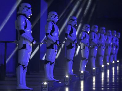 Actors in Storm Trooper costumes take part in the European Premiere of Star Wars Rogue One at the Tate Modern in London, Britain December 13, 2016. REUTERS/Neil Hall
