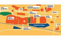 Situation du projet « Hollerich Village ». En pointillés, la ligne de chemin de fer.