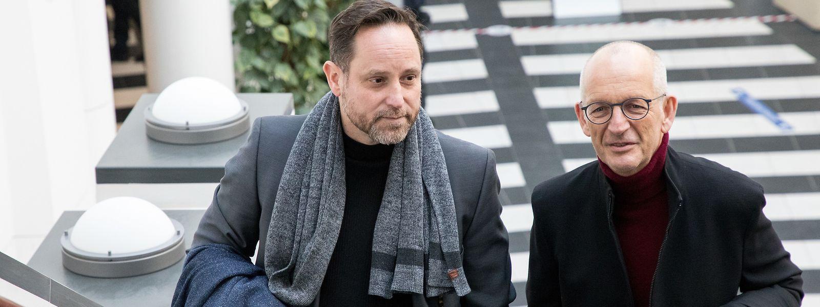 Der Angeklagte André Kemmer (l., mit seinem Anwalt Me Pol Urbany) wurde 2005 von Loris M. wegen einer vermeintlich brisanten Aufnahme kontaktiert.