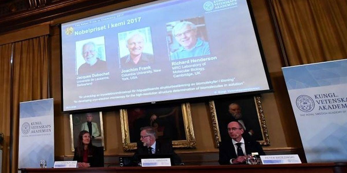 Der Nobelpreis für Chemie geht in diesem Jahr an Jacques Dubochet (Schweiz), den gebürtigen Deutschen Joachim Frank (USA) und Richard Henderson (Großbritannien).