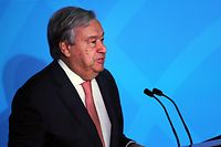 NEW YORK, NEW YORK - SEPTEMBER 23: United Nations (U.N.) Secretary-General Antonio Guterres speaks at the summit to address climate change at the U.N. on September 23, 2019 in New York City. While the U.S. will not be participating, China and about 70 other countries are expected to make announcements concerning climate change. The summit at the U.N. comes after a worldwide Youth Climate Strike on Friday, which saw millions of young people around the world demanding action to address the climate crisis.   Spencer Platt/Getty Images/AFP == FOR NEWSPAPERS, INTERNET, TELCOS & TELEVISION USE ONLY ==