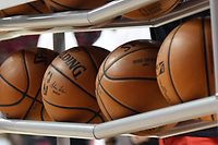 (FILES) In this file photo taken on July 05, 2019 Basketballs are shown in a ball rack before a game between the Washington Wizards and the New Orleans Pelicans during the 2019 NBA Summer League at the Thomas & Mack Center on in Las Vegas, Nevada. - The latest round of COVID-19 testing at the NBA's campus in Orlando found zero positive cases out of 346 players tested, the NBA said on July, 20, 2020. (Photo by Ethan Miller / GETTY IMAGES NORTH AMERICA / AFP)