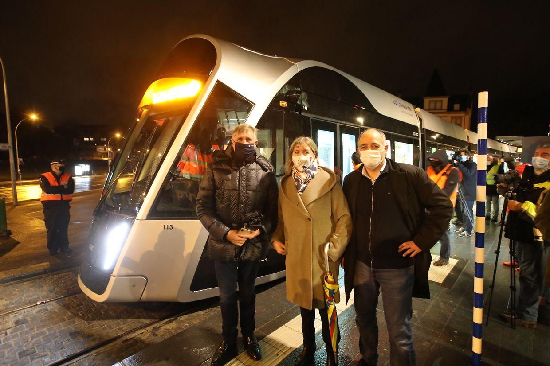 Mobilitätsminister François Bausch, Stadtbürgermeisterin Lydie Polfer und Ressortschöffe Patrick Goldschmidt verfolgten den Test hautnah.