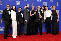 "BEVERLY HILLS, CALIFORNIA - JANUARY 05: The cast of ""Fleabag"" pose in the press room with the award for Best Television Series - Musical or Comedy during the 77th Annual Golden Globe Awards at The Beverly Hilton Hotel on January 05, 2020 in Beverly Hills, California.   Kevin Winter/Getty Images/AFP == FOR NEWSPAPERS, INTERNET, TELCOS & TELEVISION USE ONLY =="