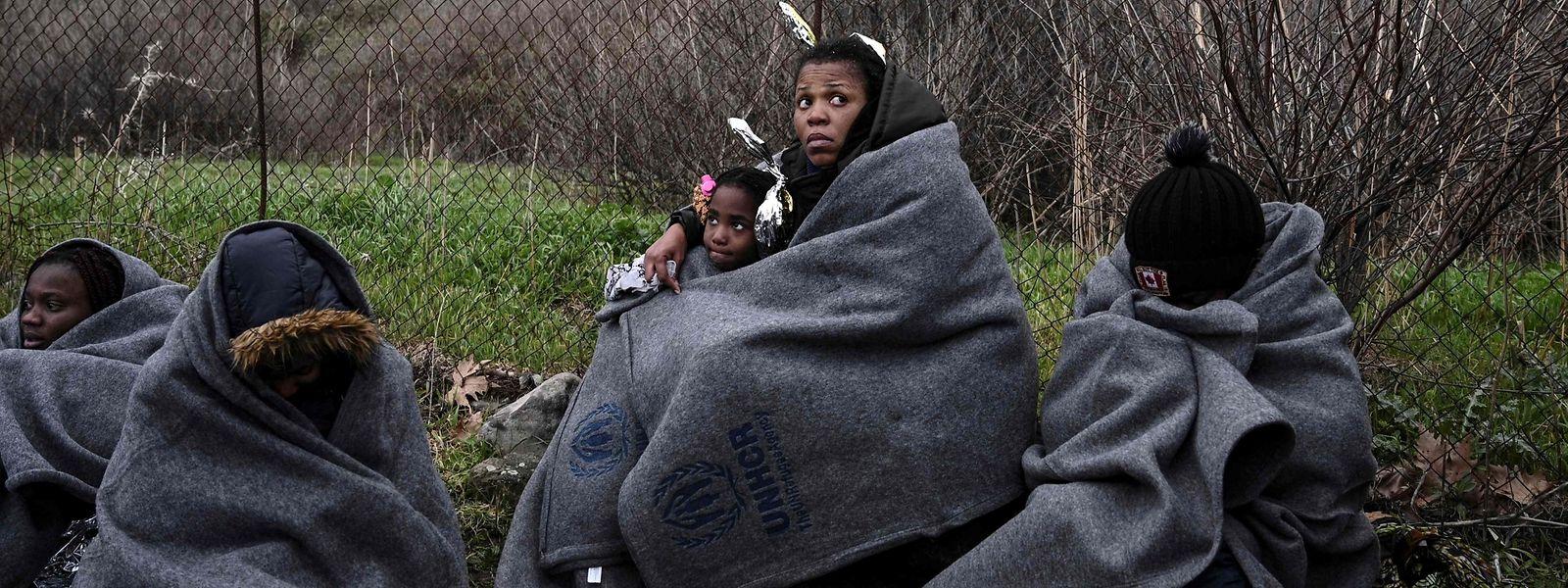 Flüchtlinge aus Gambia auf der griechischen Insel Lesbos.