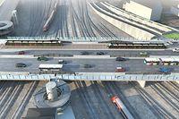 Der Pont Buchler nach seiner Erneuerung im Jahr 2021: Zwei Spuren für die Tram, zwei Spuren für Autos und Busse Richtung Bahnhof und vier Spuren Richtung Bonneweg. Zudem ein Fahrradweg und mehr Platz für Fußgänger.