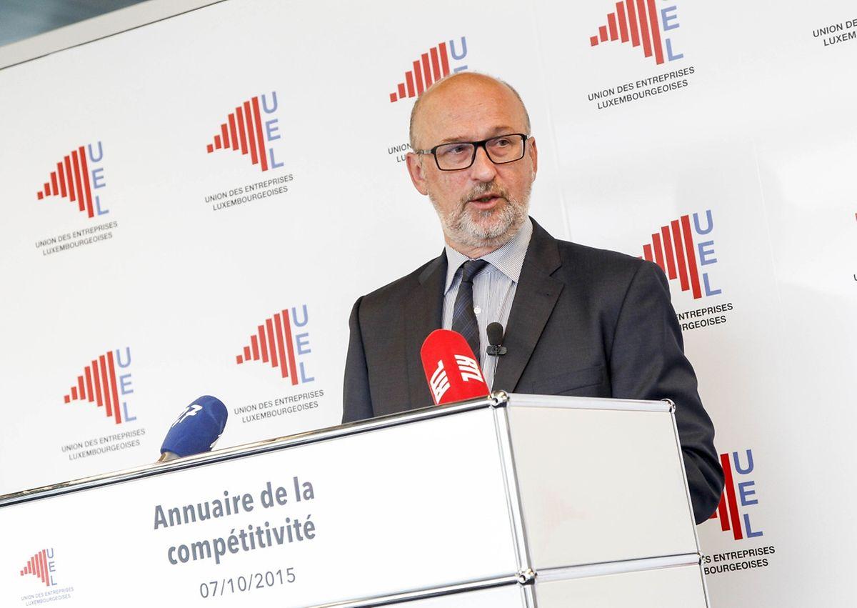 Administrateur Délégué Jean-Jacques Rommes präsentierte am Mittwochmorgen die Ausgabe 2015 des UEL-Almanachs zur Wettbewerbsfähigkeit der luxemburgischen Wirtschaft.