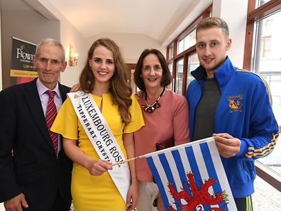 Repro Free 16.8.16 . Rose arrive into Tralee Co Kerry . The Luxembourg Rose Sile Reidy who is from BallyMcElligott Tralee with family Mike Reidy , Joan Reidy and her brother Eanna Reidy 