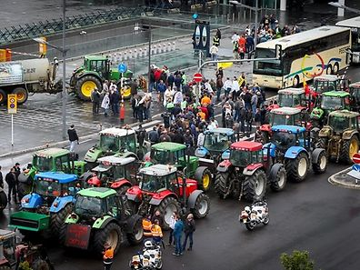 A previous farmer protest in Kirchberg
