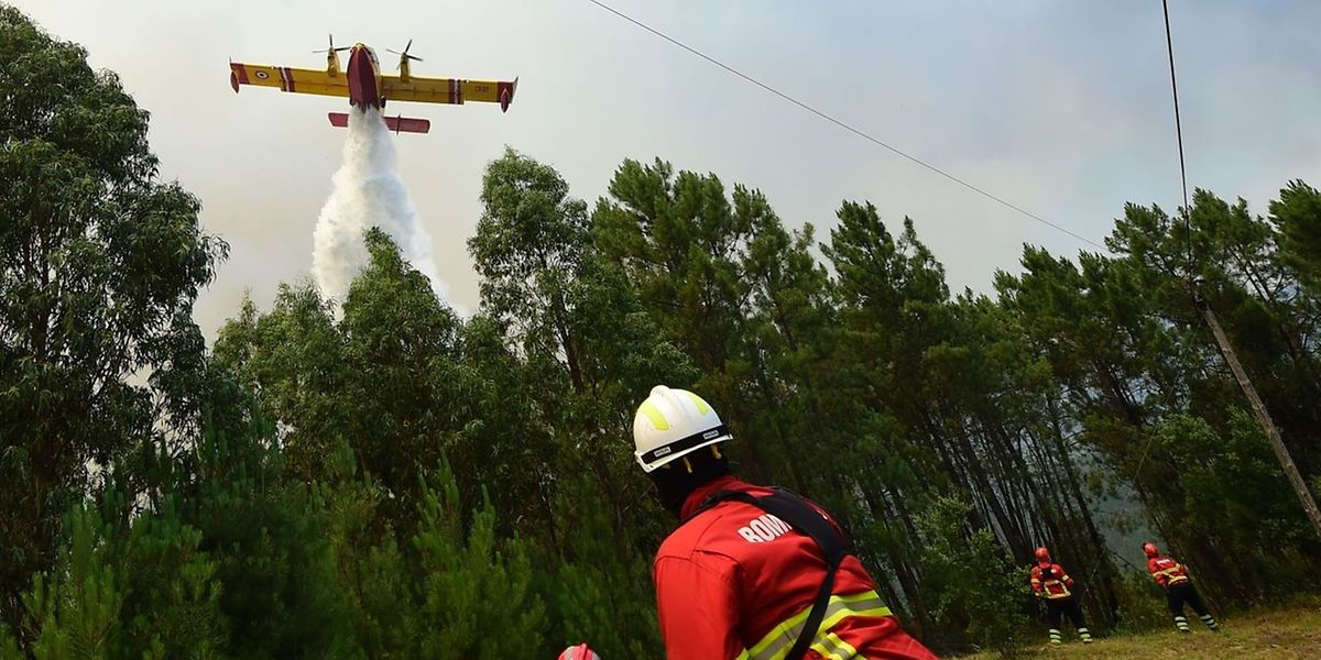 Ein Canadair-Löschflugzeug im Einsatz über Vale da Ponte, Pedrograo Grande. Ein angeblich vermisstes Flugzeug entpuppte sich als Falschmeldung.