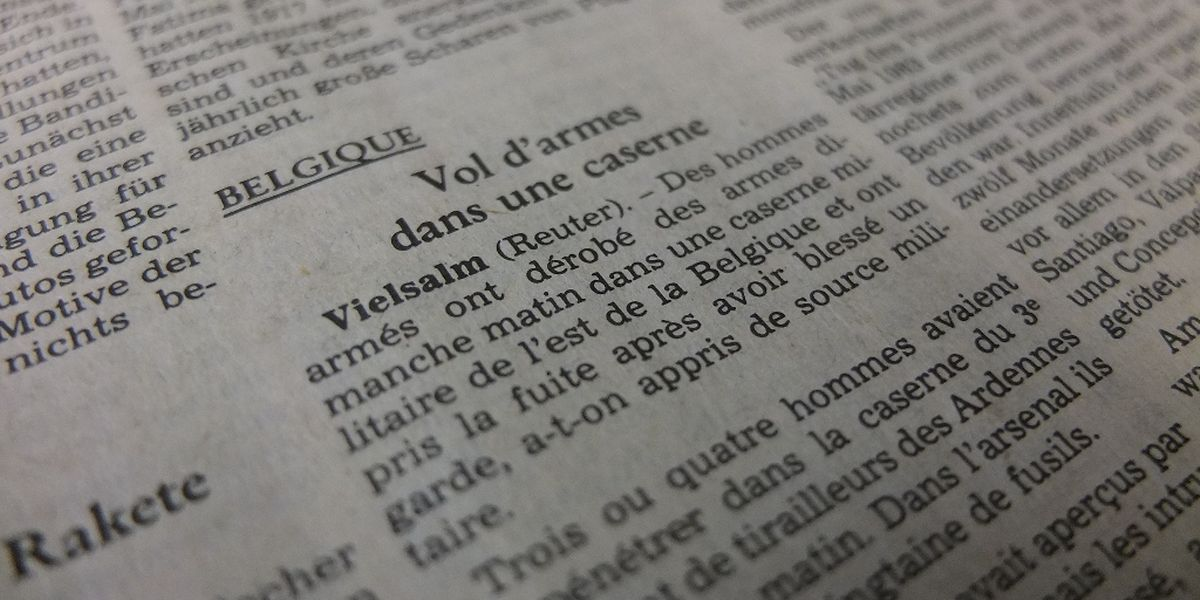 """Als Kurzmeldung behandelte das """"Luxemburger Wort"""" den Überfall in Vielsalm am 14.5.1985."""