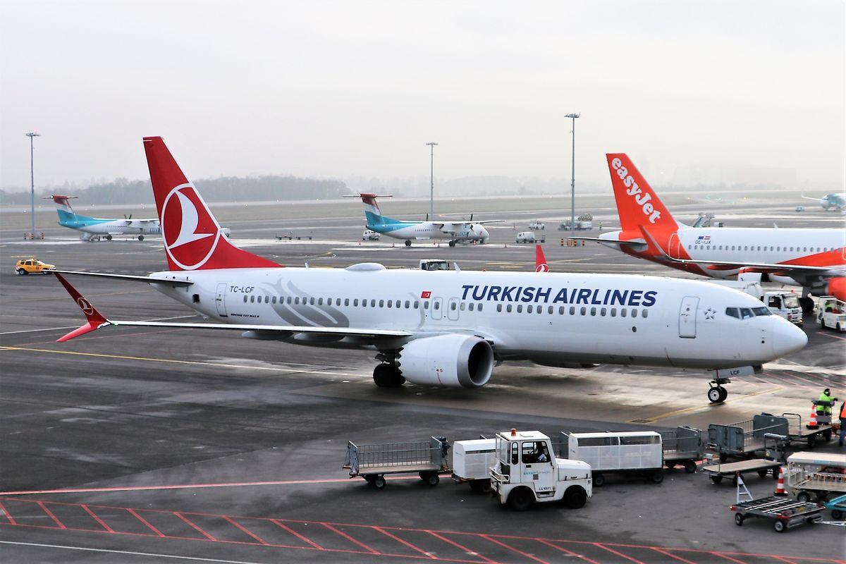 Turkish Airlines fliegt zeitweise mit einer Boeing 737 Max 8 den Flughafen Luxemburg an.