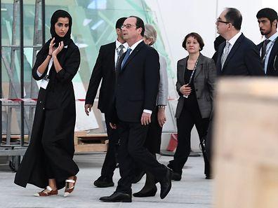François Hollande a visité samedi le site du Louvre d'Abou Dhabi qui sera inauguré en 2017.
