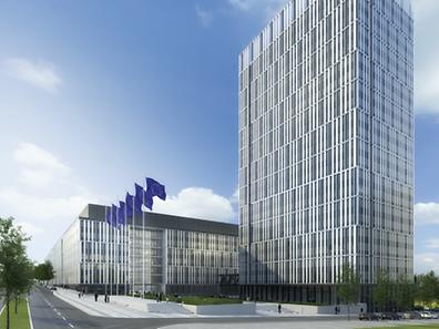 So sollen die zwei Gebäude aussehen. Das Hauptgebäude links soll 2021 fertig sein, der Büroturm ein Jahr später.