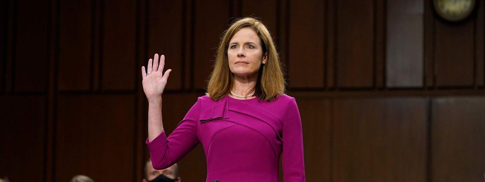 Die Richterin Amy Coney Barrett, Präsident Trumps Kandidatin für den freien Posten am Obersten Gericht.