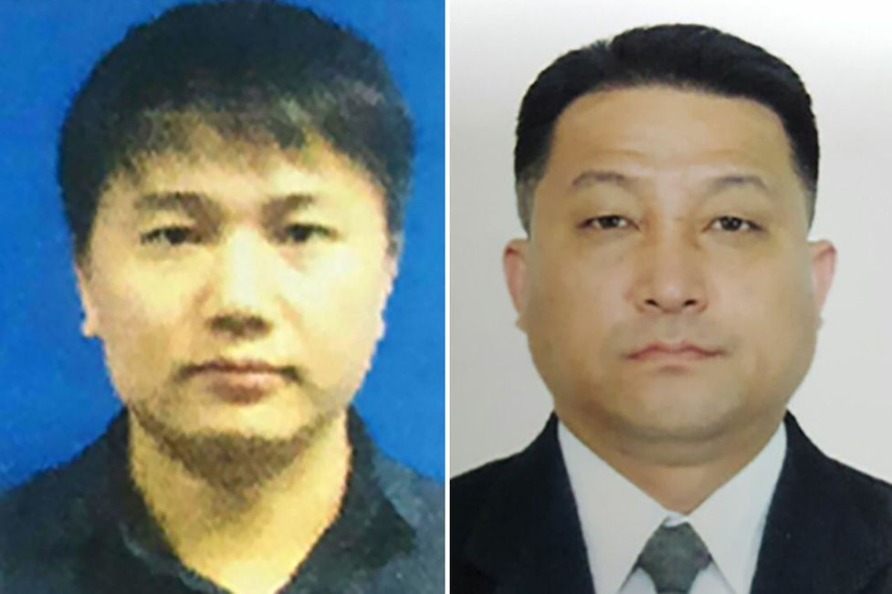 This combination of file handout pictures, released by the Royal Malaysian Police in Kuala Lumpur, shows North Korean airline employee Kim Uk Il (L) and Hyon Kwang Song, second secretary at the North Korean embassy in Kuala Lumpur.