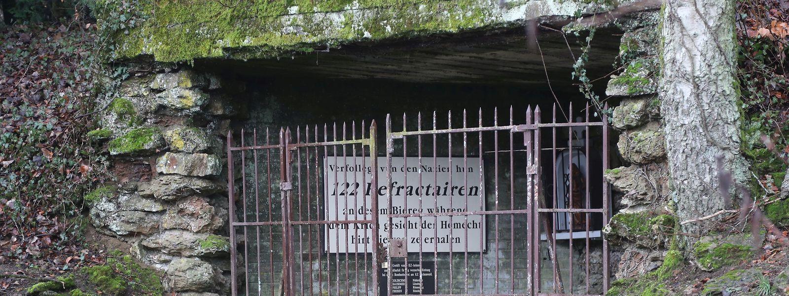 """Ein Nachbau des Stollens bei Niederkorn erinnert heute an das Schicksal der 122 jungen Wehrdienstverweigerer. Dokumentiert wird ihre Geschichte auch im """"Espace muséologique"""" in Lasauvage."""