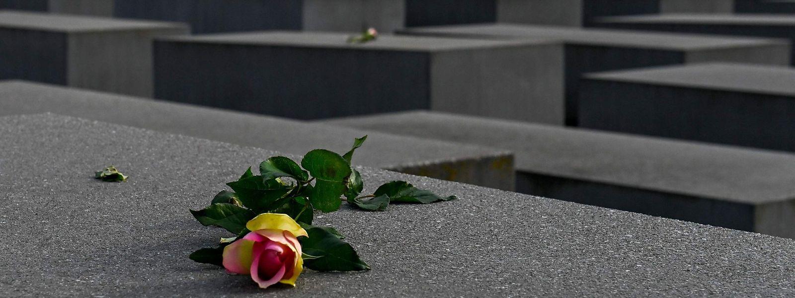 Einzelne Rosen liegen zum Gedenken an die Opfer des Nationalsozialismus auf einigen Stelen des Holocaust-Mahnmals im Berliner Tiergarten.