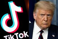 (COMBO) This combination of pictures created on August 01, 2020 shows the logo of the social media video sharing app Tiktok displayed on a tablet screen in Paris, and US President Donald Trump at the White House in Washington, DC, on July 30, 2020. - President Donald Trump said July 31, 2020 he will bar fast-growing social media app TikTok from the United States as American authorities have raised concerns the service could be a tool for Chinese intelligence. US officials and lawmakers in recent weeks have voiced fears of the wildly popular video platform being used by Beijing for nefarious purposes, but the company has denied any links to the Chinese government. (Photos by Lionel BONAVENTURE and JIM WATSON / AFP)