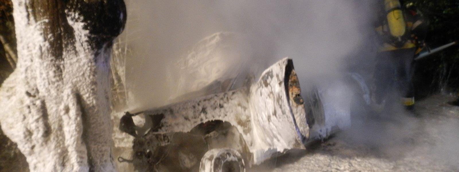 Die Feuerwehr bekämpfte den Brand mit Lösch-Schaum.