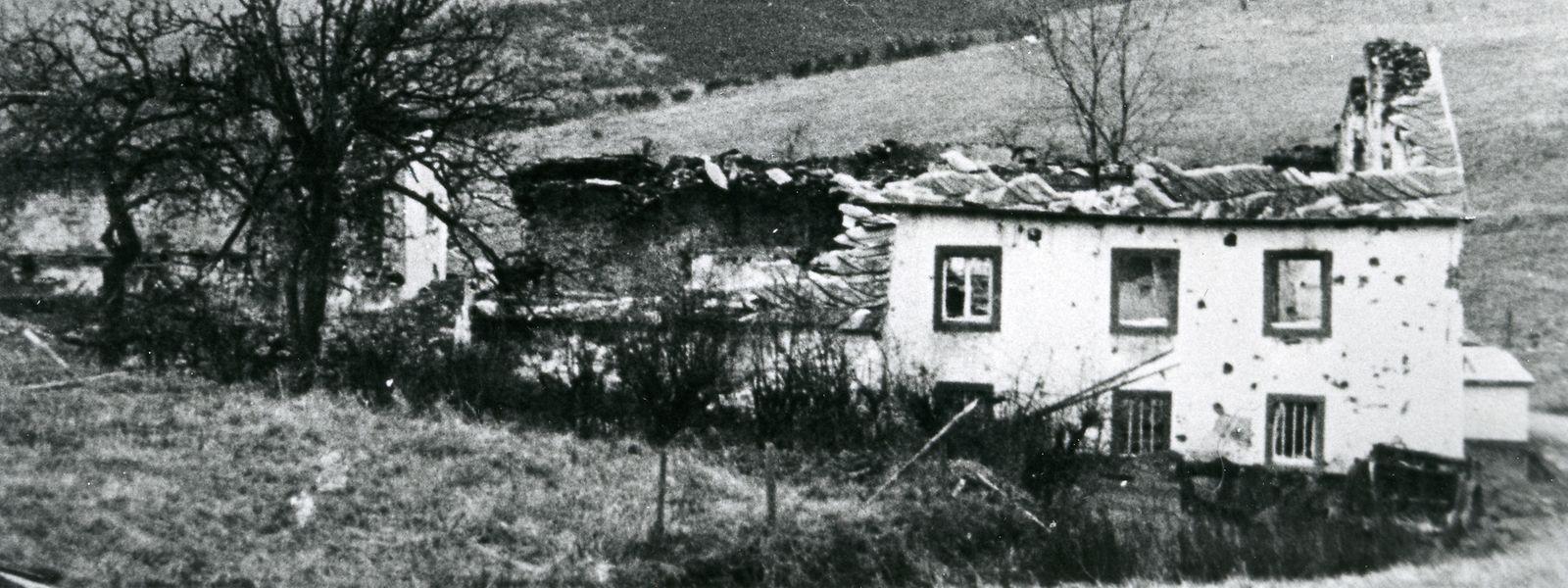 Der Hof der Familie Hoelpes in Kalborn nach der Ardennenoffensive.