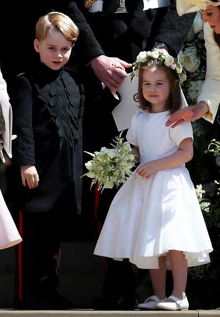Prinz George und Prinzessin Charlotte bei der Hochzeit von Prinz Harry und Meghan Markle im Mai: Sie werden als Brautjungfer und Pagenjunge bei der Trauung am Freitag dabei sein.