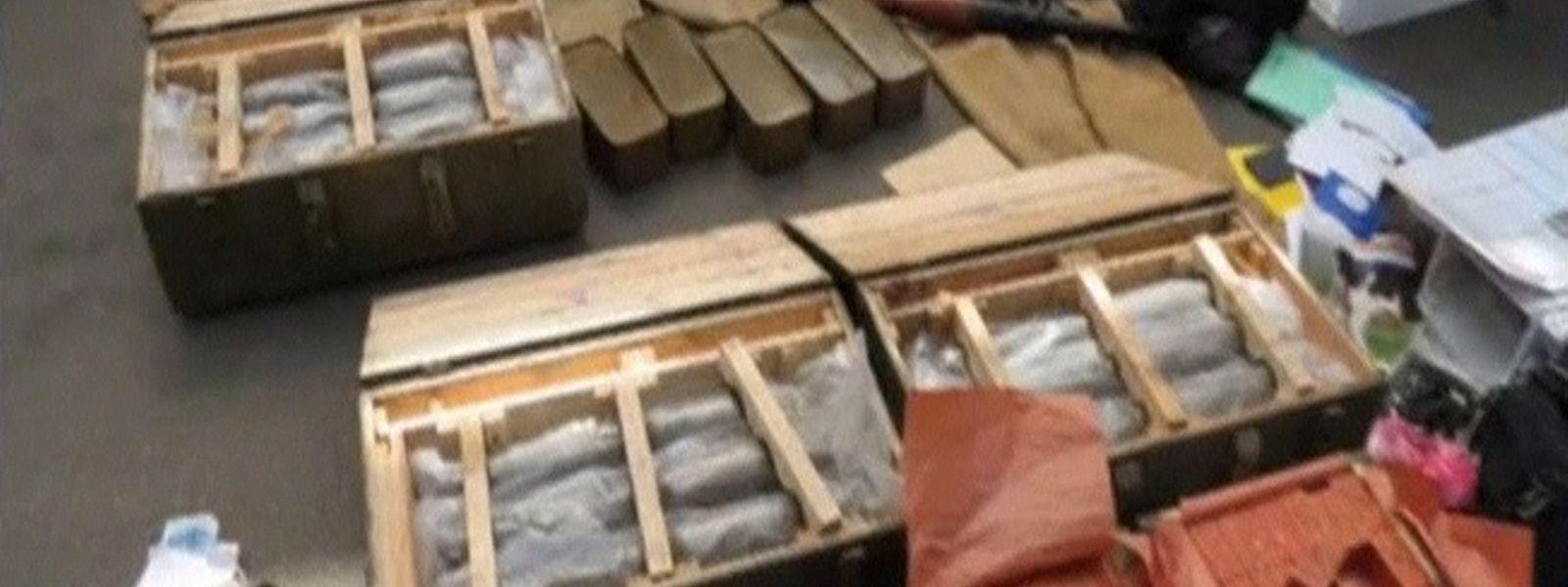 Dieses Foto, das der ukrainische Geheimdienst veröffentlichte, zeigt die konfiszierten Waffen.