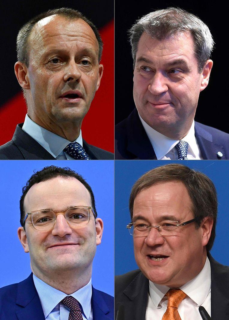 Die vier möglichen Kandidaten für den CDU-Vorsitz und die Kanzlerkandidatur: Friedrich Merz, Markus Söder, Jens Spahn, Armin Lasche (im Uhrzeigersinn).