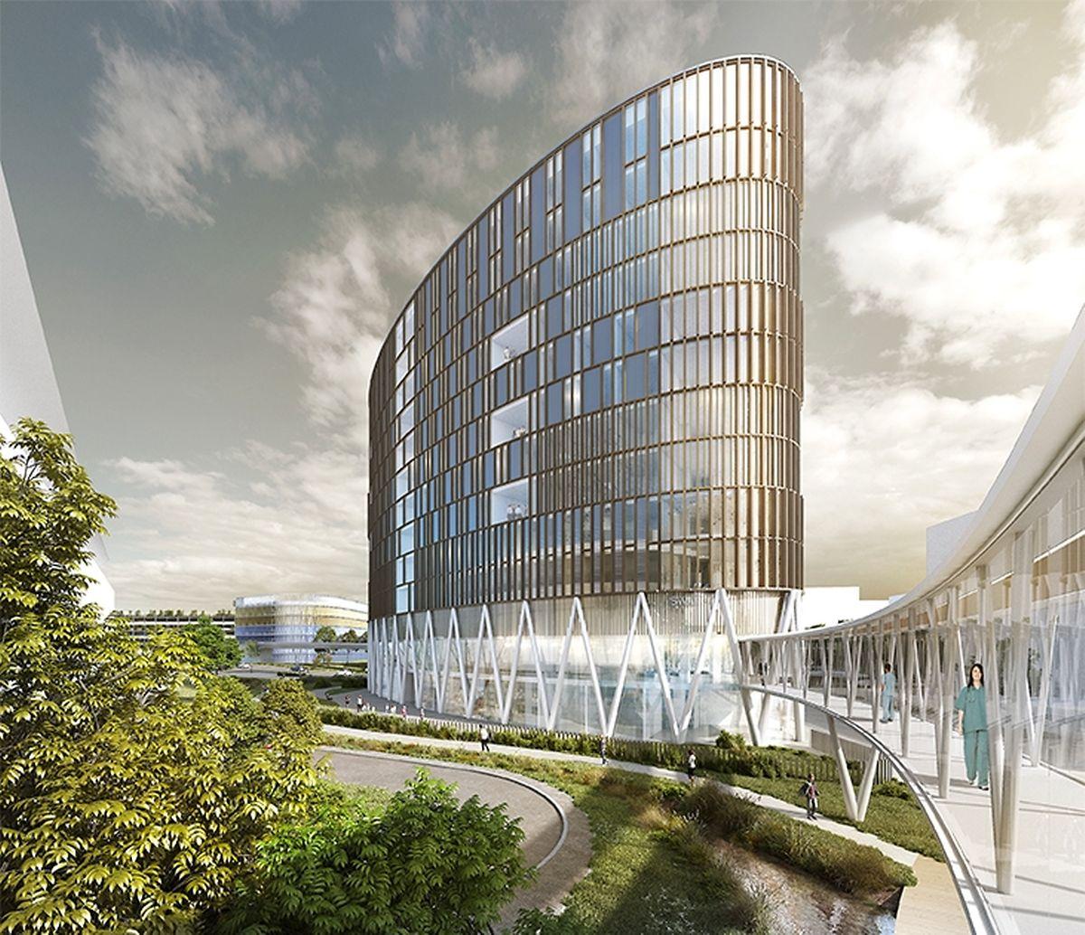 Das neue Ärztehaus das neben dem Südspidol entsteht.