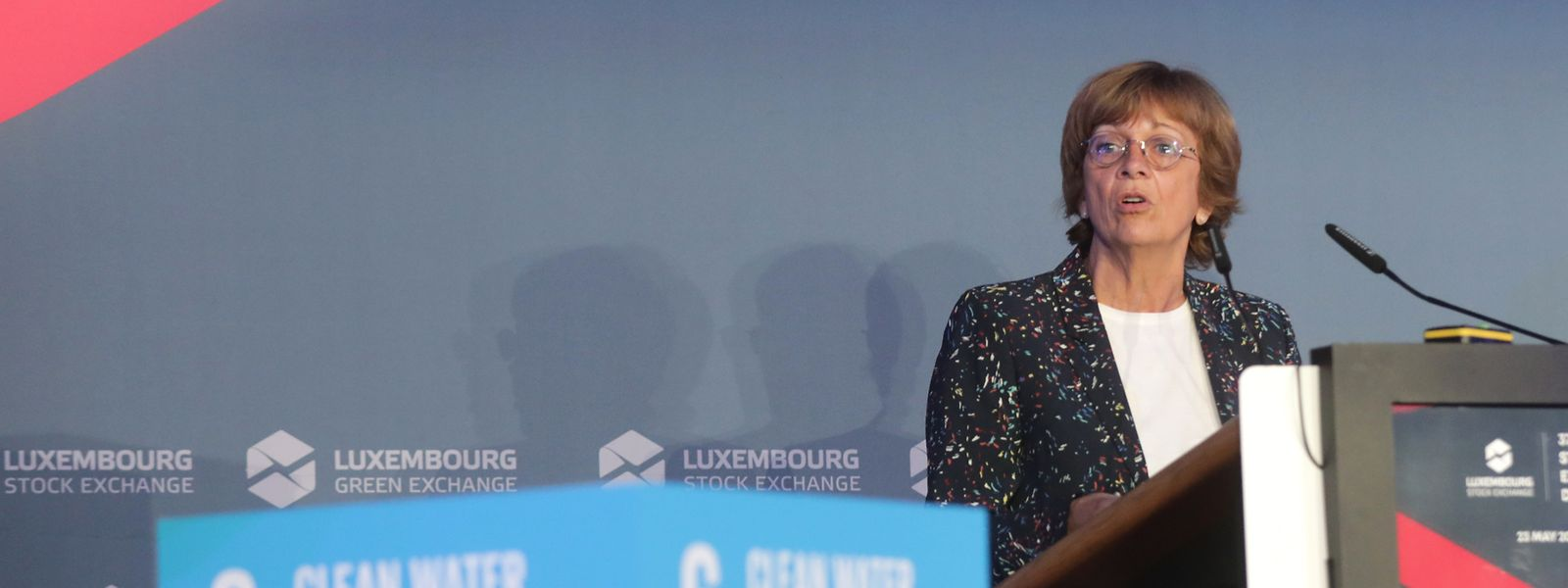 Isabelle Durant pendant son discours au «Luxembourg Stock Exchange Day».