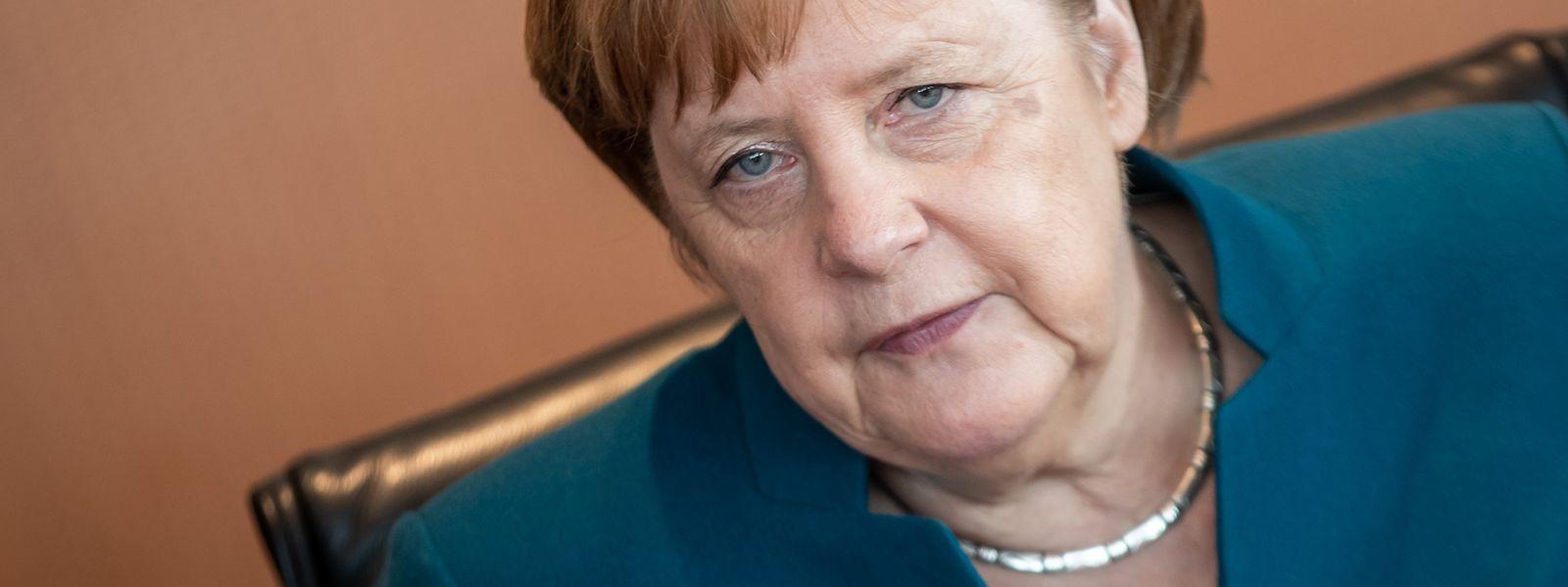 Die deutsche Regierungschefin Angela Merkel vor einer Sitzung ihres Kabinetts im Kanzleramt.