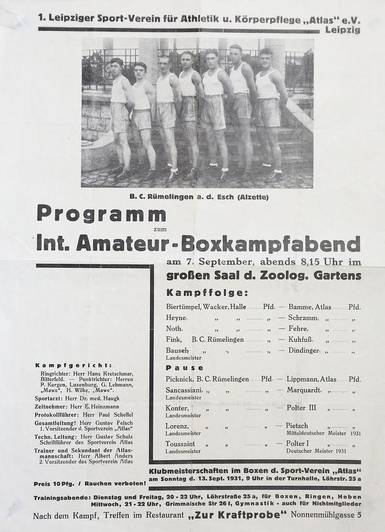 Cartaz de um torneio em Leipzig, em 1931, onde Toussaint bateria o campeão da Alemanha