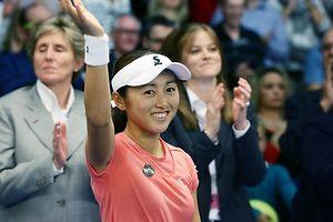 10 Tennis BGL BNP PARIBAS Luxembourg Open 25.10.2015 Misaki DOI nach dem Sieg