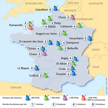 La France compte le 2ème parc mondial de centrales nucléaires, juste derrière les Etats-Unis.