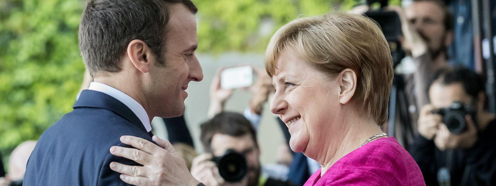 Bundeskanzlerin Angela Merkel 2017 mit dem französischen Präsidenten Emmanuel Macron.