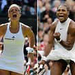 A combination of pictures created on July 8, 2016 shows Germany's Angelique Kerber (L) celebrating during her women's singles quarter-final match at the 2016 Wimbledon Championships in London on July 5, 2016 and US player Serena Williams (R) celebrating her women's singles second round victory at the Championships at The All England Lawn Tennis Club in Wimbledon on July 1, 2016.  Kerber and Williams face each other in the women's singles final on July 9, 2016.  / AFP PHOTO / ADRIAN DENNIS AND GLYN KIRK