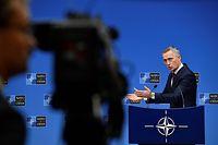 NATO Generalsekretär Jens Stoltenberg bei einer Pressekonferenz im Vorfeld des Jubiläumsgipfels in London.