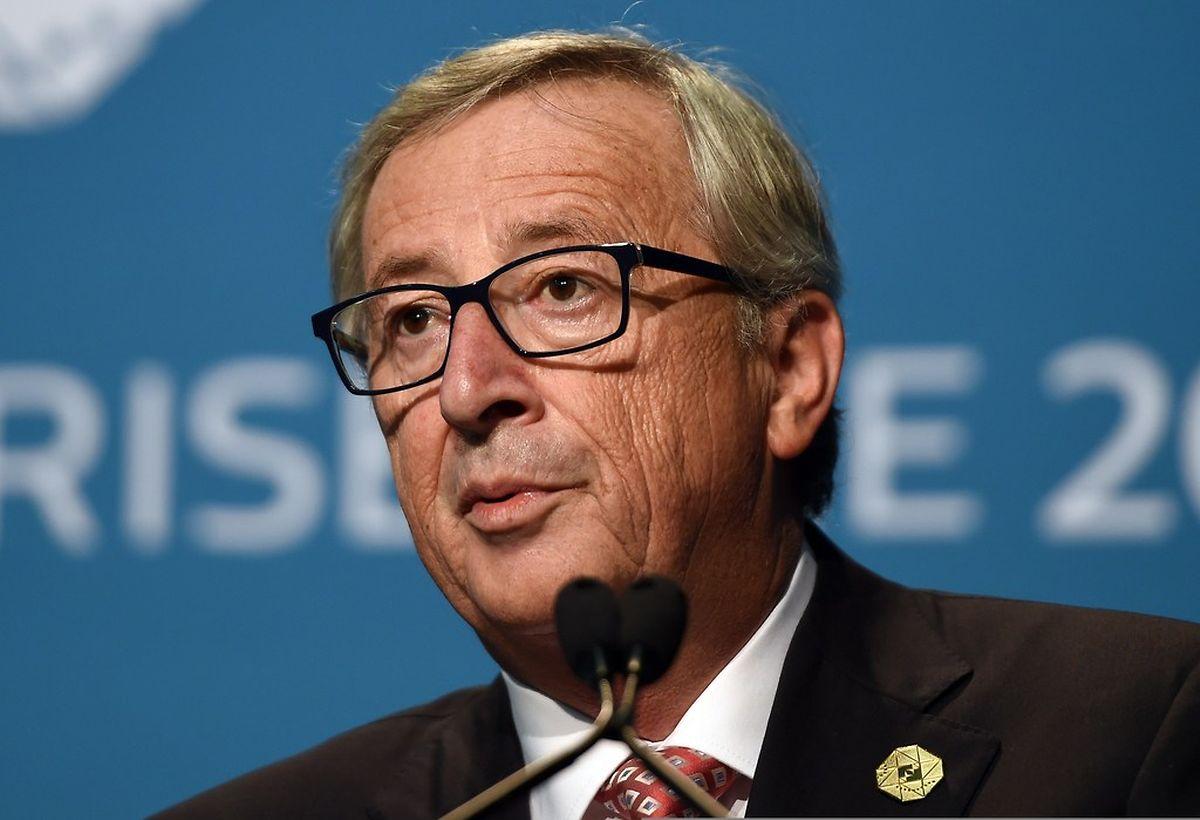 Jean-Claude Juncker lors d'une conférence de presse avec Herman Van Rompuy à Brisbane le 15 novembre