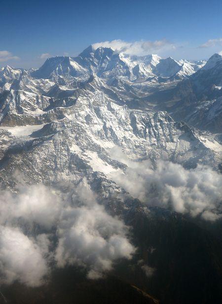 Der Mount Everest, fotografiert aus einem Flugzeug.
