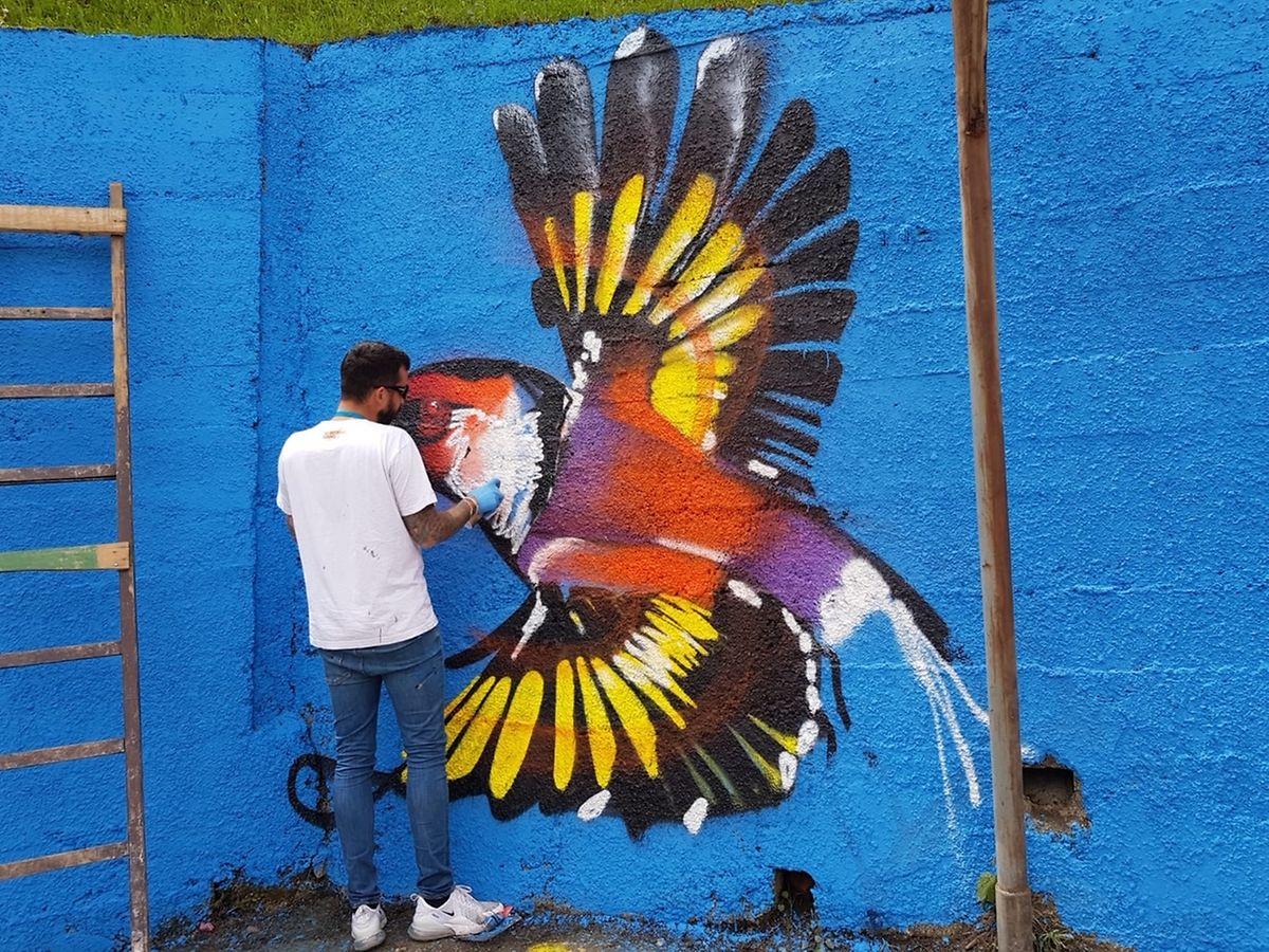 Zusammen mit Künstler Eric Mangen hatte die Vereinigung Catch a Smile im Lager in Sarajevo ein Kunstprojekt gestartet.