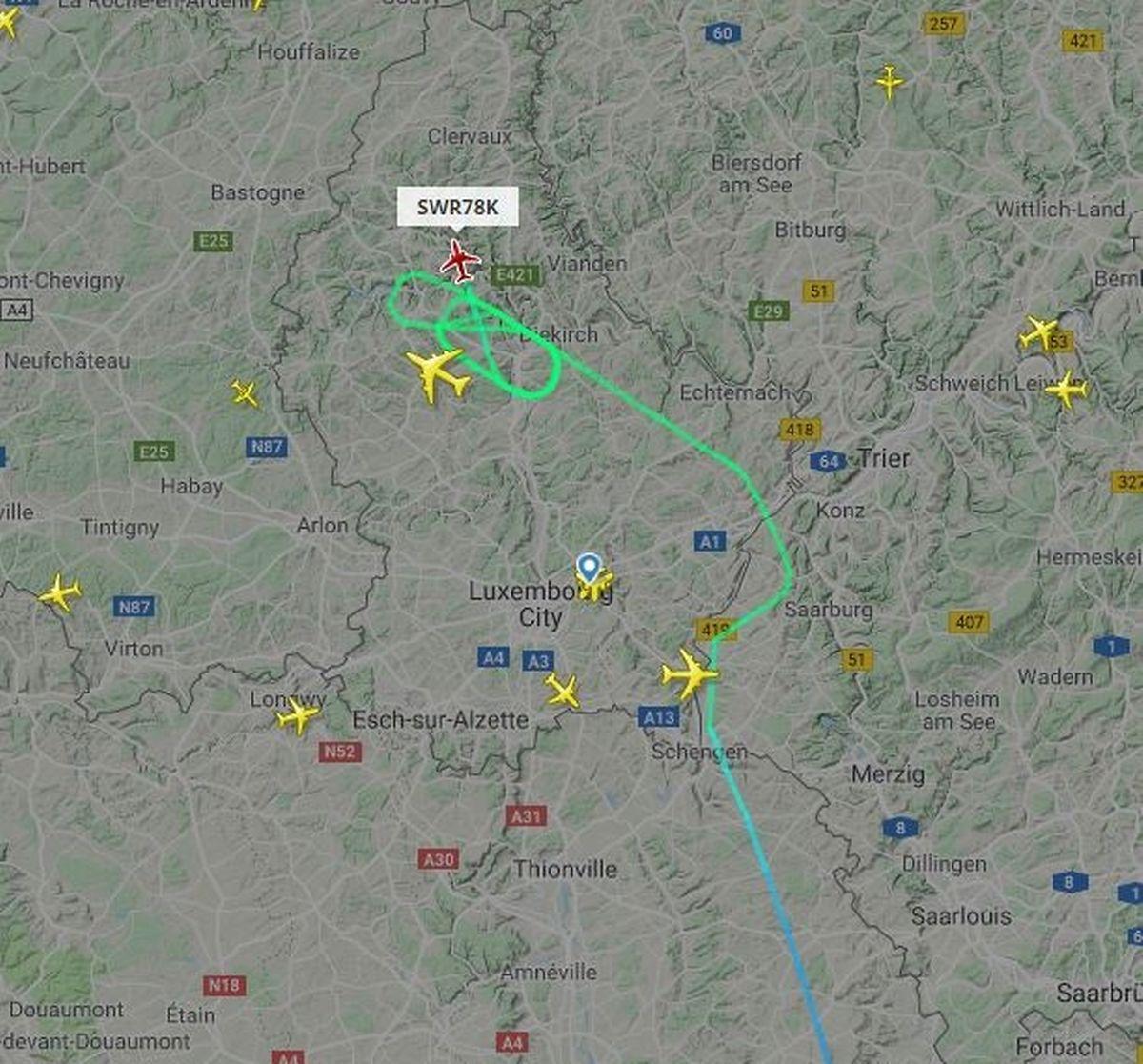 Ein Swiss-Flug von Zürich nach Luxemburg wurde nach Brüssel umgeleitet.