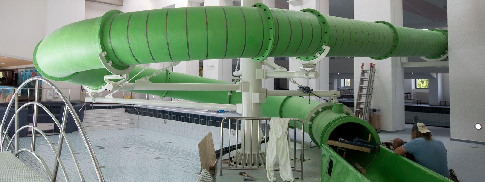 Knapp drei Wochen waren notwendig, um die neue Wasserrutsche zu installieren.