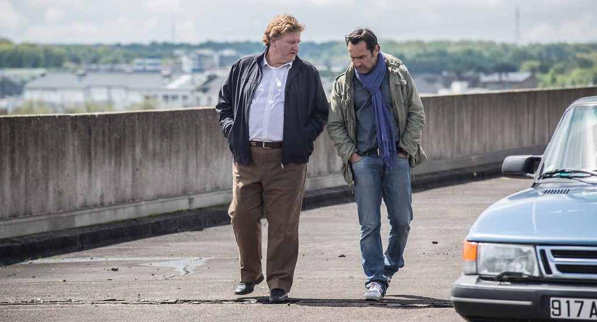 """Christian Kmiotek (Régis Hempel) et Gilles Lellouche (Denis Robert) dans """"L'enquête"""" de Vincent Garenq."""