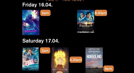 Weekend Filmprogramm Kulturhuef Kino 16.04. - 18.04.2021