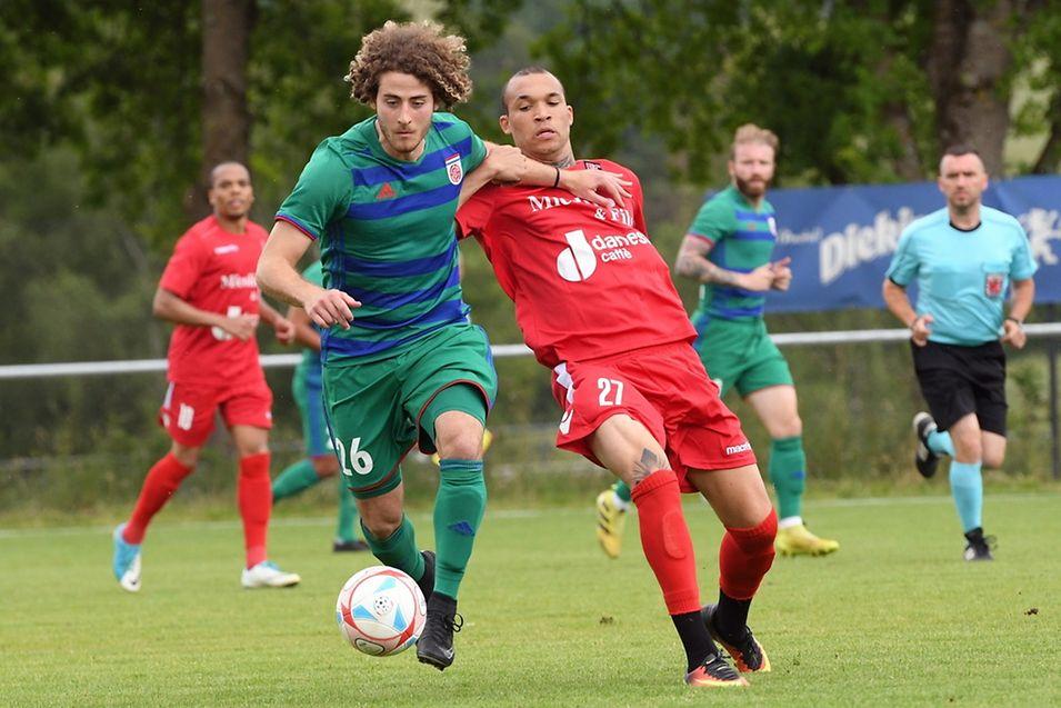 Ryan Klapp (à g.) et le Fola joueront contre les Moldaves de Milsami Orhei, tandis que le FC Differdange 03 de Dwayn Holter (en rouge) en découdra avec le club azéri du FK Zirä