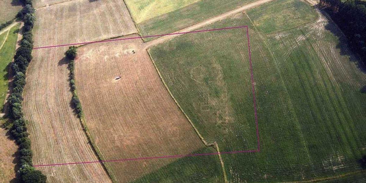 Ein Luftbild von 1994 zeigt deutlich die Umrisse der römischen Hofanlage.