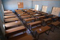Ein leerer Klassenraum der Government Science School in Kankara.