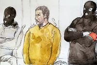 (FILES) A court sketch made on January 10, 2019 shows Mehdi Nemmouche (C), accused of the terrorist attack at the Jewish Museum in Brussels in 2014, during his trial at the Brussels Justice Palace. - The court will render its verdict on March 7, 2019 during the trial od Mehdi Nemmouche, 33, who faces a life sentence if convicted of the killings in the Belgian capital on May 24, 2014, following his return from Syria's battlefields. (Photo by Benoit PEYRUCQ / AFP)
