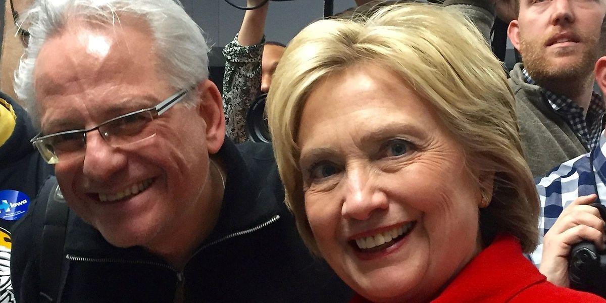 """""""Wort""""-USA-Korrespondent Thomas Spang bei einem Wahlkampfauftritt der demokratischen Kandidatin Hillary Clinton."""